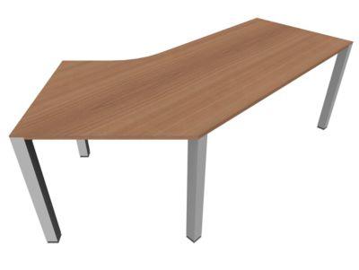 Schreibtisch 135° SOLUS PLAY, 4-Fuß, Freiform, Ansatz rechts, B 2165 x T 800 x H 720 - 820 mm, Kirsche Romana