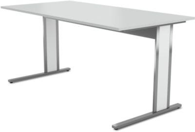 Schreibtisch AXXETO, C-Fuß, Rechteck, B 1600 x T 800 x H 750 mm, lichtgrau