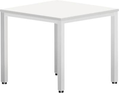 Schreibtisch BEXXSTAR, Quadratrohrfuß, Rechteck, B 800 x T 800 x H 740 mm, weiß