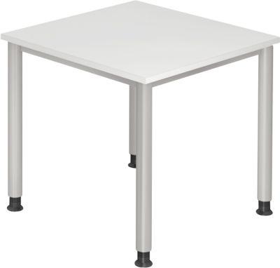 Schreibtisch CLUBWORK, 4-Fuß, Quadrat, B 800 x T 800 x H 680-760 mm, lichtgrau