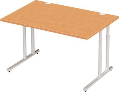 Schreibtisch COMBITEC, B 1200 x T 800 x H 677 - 817 mm, Buche/weißalu