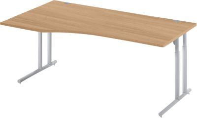 Schreibtisch COMBITEC, B 1800 x T 1000/800 mm, Kirsche Romana/weißalu