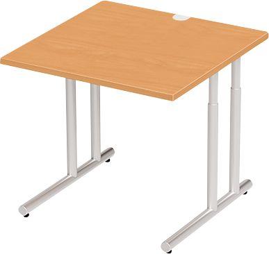 Schreibtisch COMBITEC, B 800 x T 800 x H 677 - 817 mm, Buche/weißalu