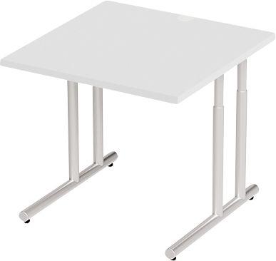 Schreibtisch COMBITEC, B 800 x T 800 x H 677 - 817 mm, lichtgrau/weißalu