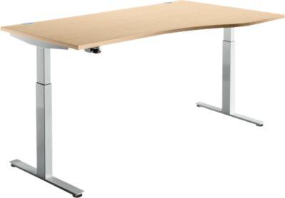 Schreibtisch DRIVE UP 1, Ansatz rechts, T-Fuß, Freiform, 1-stufig elektr. höhenverstellbar, Ahorn/weißalu