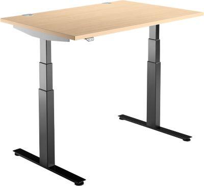 Schreibtisch DRIVE UP 2, T-Fuß, Rechteck, 2-stufig elektrisch höhenverstellbar, B 1200 mm, Ahorn/schwarz