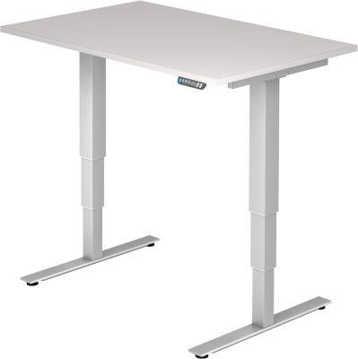 Schreibtisch, elektrisch, höhenverstellbar, B 1200 mm, lichtgrau