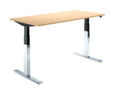 Schreibtisch, elektrisch höhenverstellbar, C-Fuß, verchromt, Breite 1600, Buche