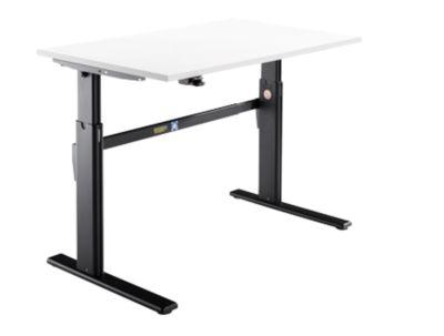 Schreibtisch, elektrisch höhenverstellbar, Rechteckform, C-Fuß, weiß/schwarz, B 1200 mm