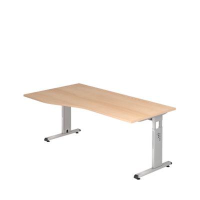 Schreibtisch Freiform ULM, li. od. rechts, B 1800 x T 800/1000 x H 650-850 mm, Eiche-Dekor