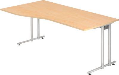 Schreibtisch JENA, C-Fuß, Freiform, B 1800 x T 1000 x H 720 mm, Ahorn-Dekor