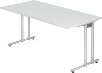 Schreibtisch JENA, C-Fuß, Rechteck, B 1600 x T 800 x H 720 mm, Gestell alusilber, lichtgrau