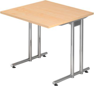 Schreibtisch JENA, C-Fuß, Rechteck, B 800 x T 800 x H 720 mm, Gestell verchromt, Ahorn-Dekor
