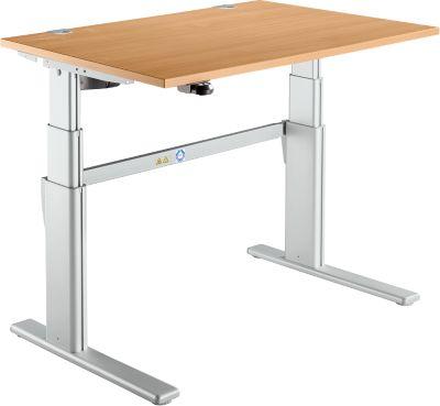 Schreibtisch Komfort, 2-stufig elektrisch höhenverstellbar, B 1200 mm, Buche/weißalu