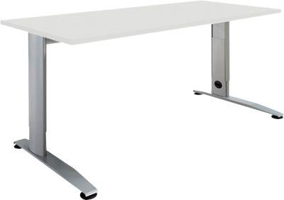 Schreibtisch LOGIN, höhenverstellbar, C-Fuß, Rechteck, B 1200 x T 800 x H 660 - 820 mm, lichtgrau