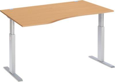 Schreibtisch mit Ansatz ERGO-T, T-Fuß, Ansatz links, einst. elektr. höhenverstellbar, B 1800 mm, Buche-Dekor
