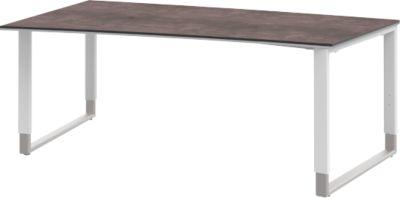 Schreibtisch mit Ansatz links TEQSTYLE, Kufengestell, Freiform, B 1800 x T 1000/800 mm,