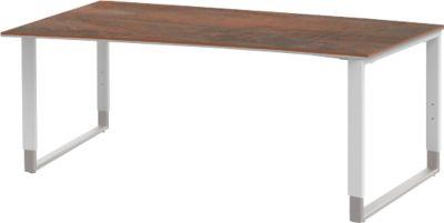 Schreibtisch mit Ansatz links TEQSTYLE, Kufengestell, Freiform, B 1800 x T 1000/800 mm, Oxido/weiß
