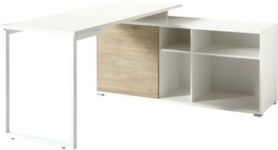Schreibtisch mit Regal PASEO, Rechteck, Kufengestell, B 1450 x T 600 mm, 3 Fächer, 1 Schiebetür, 3 Böden, eiche/weiß