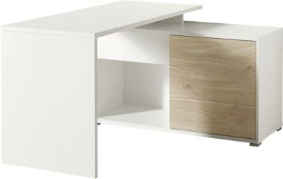 Schreibtisch mit Regal PASEO, Rechteck & Wangengestell, B 1170 x T 1200 mm, 2 Fächer, 1 Schiebetür, 1 Schublade, eiche/weiß