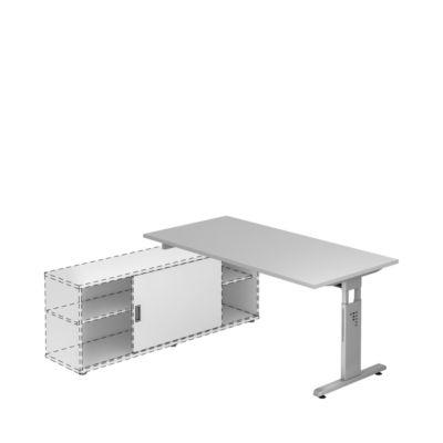 Schreibtisch mit Sideboard, B 1600 mm, lichtgrau