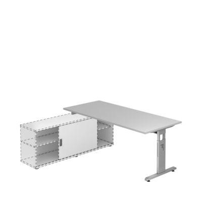 Schreibtisch mit Sideboard, B 1800 mm, lichtgrau