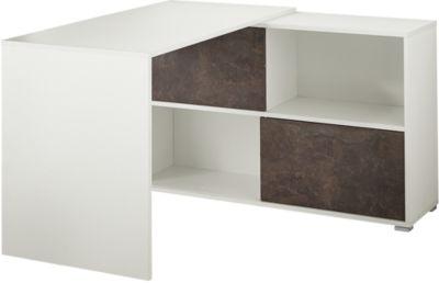 Schreibtisch mit Sideboard weiß/basalto