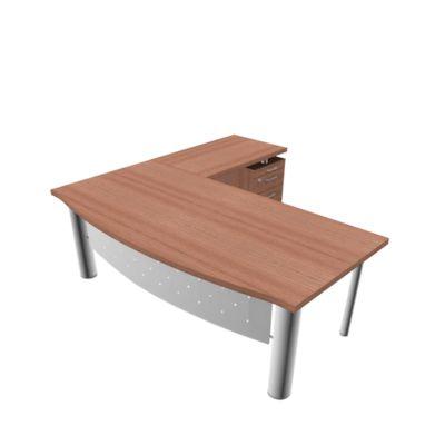 Schreibtisch mit Sideboard X-TIME-WORK, 4-Fuß, Bogen, B 2000 x T 900 x H 740 mm, Nuss Canaletto-Dekor/weiß