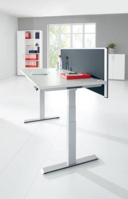 Schreibtisch MODENA FLEX, elektr. höhenverstellbar, Rechteck, T-Fuß, 1600 x  645-1290 mm, Buche + Trennwand