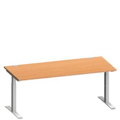 Schreibtisch MODENA FLEX, T-Fuß-Rechteckrohr, B 1800 x T 800 mm, Buche/weißalu
