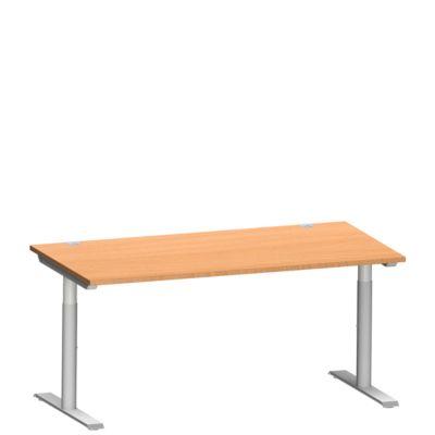 Schreibtisch MODENA FLEX, T-Fuß-Rundrohr, B 1600 x T 800 mm, buche/weiß