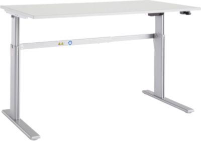 Schreibtisch Moxxo IQ, elektrisch höhenverstellbar, Rechteck, C-Fuß, B 1600 x T 800 x H 725-1185 mm, lichtgrau/weißalu