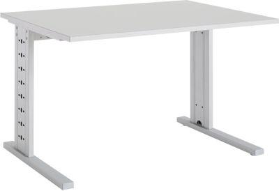 Schreibtisch Moxxo IQ, Rechteck, C-Fuß, B 1200 x T 800 x H 735 mm, lichtgrau
