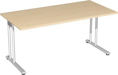 Schreibtisch PALENQUE, C-Fuß, Rechteck, B 1600 x T 800 x H 720 mm, Ahorn