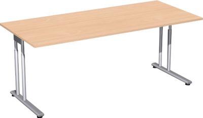 Schreibtisch PALENQUE, C-Fuß, Rechteck, B 1800 x T 800 x H 680-820 mm, Ahorn