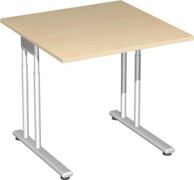 Schreibtisch PALENQUE, C-Fuß, Rechteck, B 800 x T 800 x H 680-820 mm, Ahorn