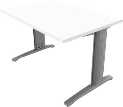 Schreibtisch PHENOR, im Fuß integrierte Kabelkanäle, Rechteck, C-Fuß, B 1200 x T 800 mm, weiß