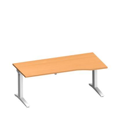Schreibtisch PLANOVA ERGOSTYLE, Ansatz rechts, manuell höhenverstellbar durch Imbusschlüssel, B 1800 mm, Buche/weiß