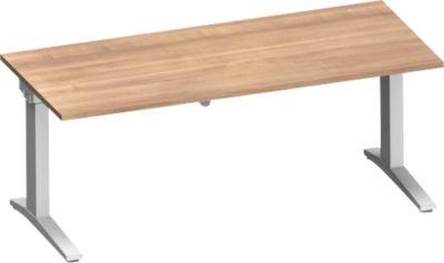 Schreibtisch PLANOVA ergoSTYLE, C-Fuß, Rechteck, einstufig elektr. höhenverstellbar, B 1800 mm, Kirsche Romana-Dekor/weißalu