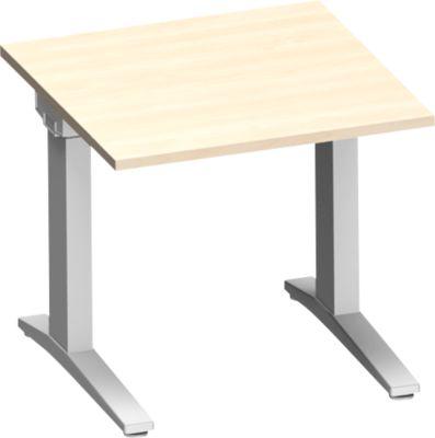 Schreibtisch PLANOVA ergoSTYLE, C-Fuß, Rechteck, man. höhenverstellbar, B 800 x T 800 x H 675-895 mm, Ahorn-Dekor/weißalu