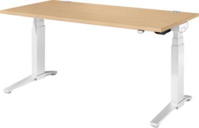 Schreibtisch PLANOVA ergoSTYLE, C-Fuß, Rechteck, zweistufig elektr. höhenverstellbar, B 1600 mm, Ahorn-Dekor/weiß