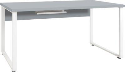 Schreibtisch Player, Kabeldurchlass und Kabelablage, Breite 1600 mm, platingrau
