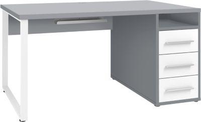 Schreibtisch Player, mit Schubladen, Kabeldurchlass & Kabelablage, Breite 1500 mm, platingrau/weißglas