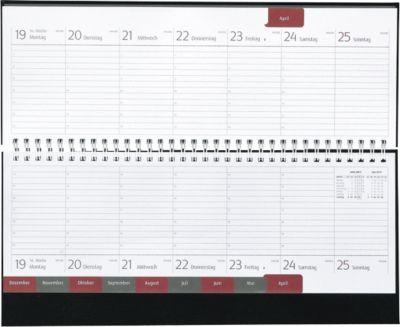 Schreibtisch-Querkalender Classic Line, schwarz, 128 Seiten