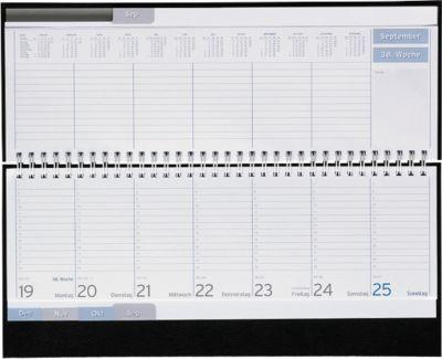 Schreibtisch-Querkalender Clubline, in Kunststoffhülle, schwarz, 128 Seiten