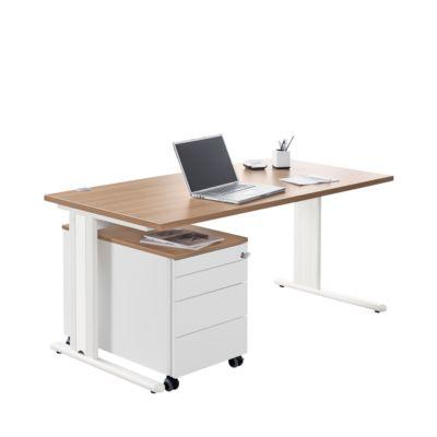 Schreibtisch+ Rollcontainer+ Akzentleisten PLANOVA BASIC, Kirsche Romana-Dekor/weiß