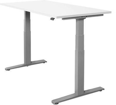 Schreibtisch SET UP, T-Fuß-Gestell, elektrisch höhenverstellbar, 1600x800, weiß