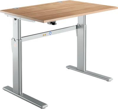 Schreibtisch Standard, C-Fuß, Rechteck, elektrisch höhenverstellbar, B 1200 x T 800 x H 725-1185 mm, Kirsche-Romana