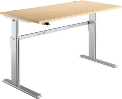 Schreibtisch Standard, C-Fuß, Rechteck, elektrisch höhenverstellbar, B 1600 x T 800 x H 725-1185 mm, Ahorn-Dekor