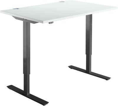 Schreibtisch START UP, einstufig elektr. höhenverstellbar, B 1200 mm, lichtgrau/schwarz